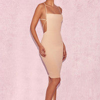 Clothing : Bodycon Dresses : 'Carenza' Nude Bib Dress