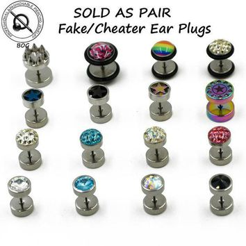ac PEAPO2Q BOG-1 Pair Surgical Steel Cheater Faux Fake Stud Earring Ear Tunnel Plugs Gauges Piercing Body Jewelry  16g
