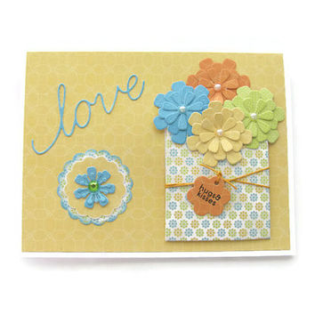 I love You, Bouqet of Flowers, Multicolored Note Card