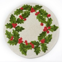 St. Nicholas Square Holly Bath Rug (White)