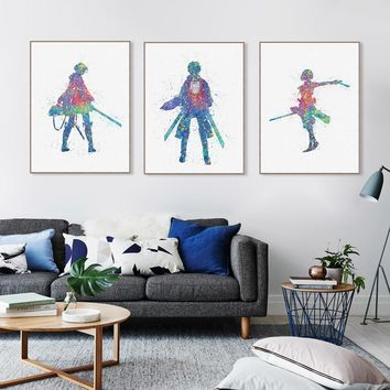 Cool Attack on Titan Watercolor Japanese Animation  Canvas Art Poster Print Wall Picture Paintings Kids Room Home Decor No Frame AT_90_11