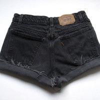 Vintage Levi's Mid High Waisted Cut Off Denim Shorts Black Jean 27""