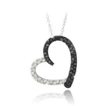 Sterling Silver 2/5ct Black Diamond & White Topaz Open Floating Heart Necklace
