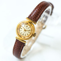 Tiny woman's watch Glory, rare design gold plated lady's watch, luxury wristwatch her, ornamented woman watch, premium leather strap new