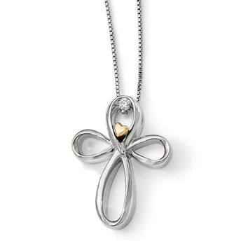 Endless Love Diamond Cross Necklace in Sterling Silver & 14k Gold
