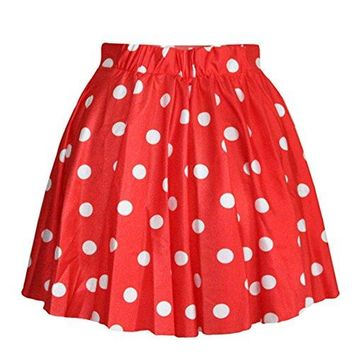 AvaCostume Women's High Waisted Candy Colors Polka Dot Skirt