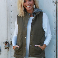 Out Of My League Quilted Vest With Hood ~ Olive ~ Sizes 4-10