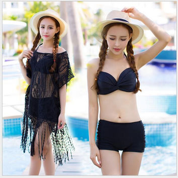 2016 Three Pieces Bathing Suit Beach Wear Bikini Push Up Beach Cover Up Sexy Womens Hollow Lace Crochet robe de plage