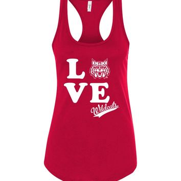 Official NCAA Venley University of Arizona Wildcats U of A Wilber Wildcat BEAR DOWN! Love Racerback Tank - UOFA2412