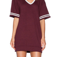 Wine Red V Neck Striped Short Sleeve Shift Mini Dress