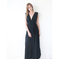Black Maxi Dress , Floor Length Gown, Classic Formal Black Dress , Engagement Maxi Black Dress
