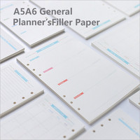 A5 A6 6 Holes Blue Label Colored Planner Accessories Spiral Filler Paper Office School Stationery Binder Planner Filler Paper