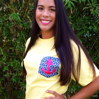 Simply Southern Pocket Tee Yellow - Navy Anchors