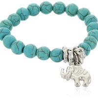HAPPY World Chap Turquoise Beads Tibetan Silver Cute Elephant Stretch Bangle Bracelet