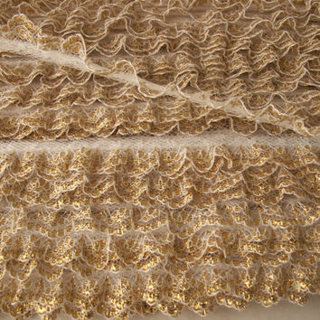 "5 YARDS, Gold Ruffled Lace Trim , 3/4"" wide,Sewing Lace,Doll Apparel,Gathered Lace,Craft Supplies,Lace Embellishment"