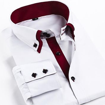 New Fashion Leisure Slim Fit Men Casual Shirt Double Collar Spliced Shirt Business Formal Dress Shirts