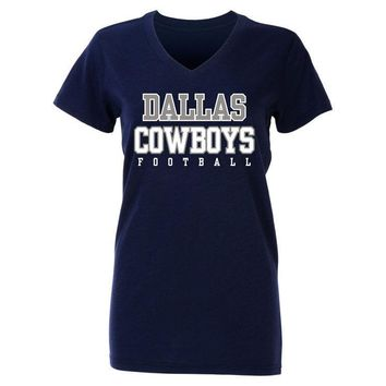 Dallas Cowboys T-Shirt Ladies Practice Glitter Womens V-Neck T-Shirt Navy