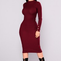Canal St. Ribbed Dress - Burgundy
