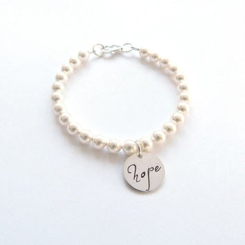 Personalized Pearl Bracelet Personalized Bracelet Sterling Silver charm Mother of the Groom Gift Wedding Jewelry