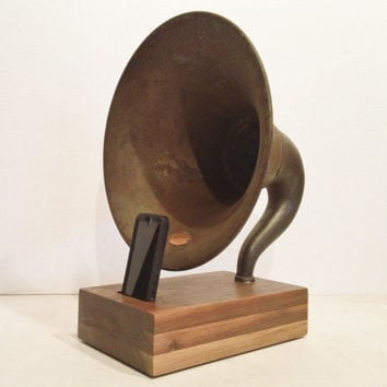 Acoustic  iPhone Speaker Dock Utilizing a Vintage Antique Atwater Kent Gramophone Horn -Ready to Ship-