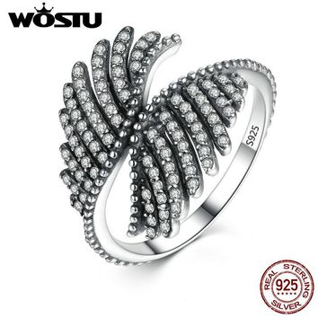 WOSTU Luxury 100% Authentic 925 Sterling Silver Phoenix Feather Finger Rings Fashion Ring Fine Jewelry XCH7193