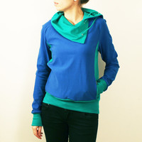 Blue Sweatshirt With Cowl Neck and Green Details by bevisible