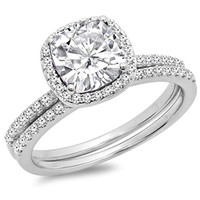 CERTIFIED 0.40 carats 14K Gold Cushion Created White Sapphire & Round White Diamond  Halo Engagement Ring Set