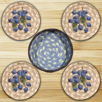 Blueberry Round Coasters in a Basket (Set of 5)