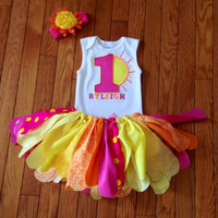 Sunshine Birthday Outfit - pink and yellow tutu - bright color tutu outfit, sunshine