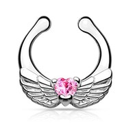 BodyJ4You Septum Clip On Non-Pierced Angel Wings with Heart Pink CZ Body Jewelry