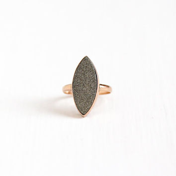 Antique 10k Rosy Yellow Gold Victorian Pyrite Crystal Ring - Early 1900s Edwardian Size 7 Navette Marquise Fool's Gold Fine Jewelry