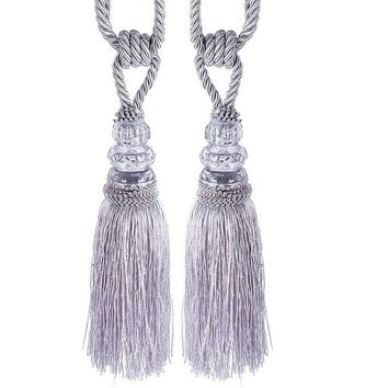 Fashion Crystal Tassel Beaded Tiebacks Window Curtain Fringe Tie Backs Home Decor