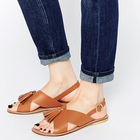 ASOS FOXTROT Leather Tassel Sandals at asos.com