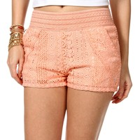 Sale-peach Crochet Shorts
