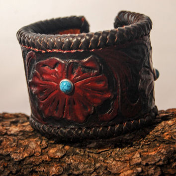 Leather cuff bracelet, hand tooled with Turquoise