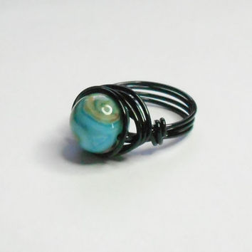 Crazy Lace Agate Blue Black Handmade Wire Wrapped Ring Sizes 1-14