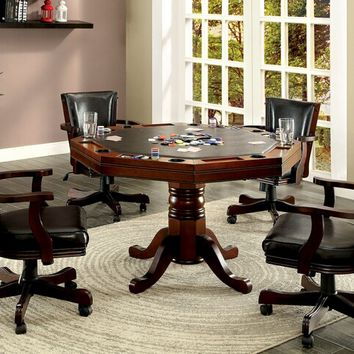 Furniture of america CM-GM339 5 pc rowan collection cherry finish wood man cave poker, gaming, dining table set with swivel chairs