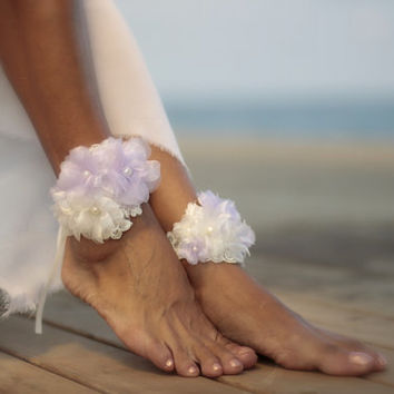 Lilac bouquet barefoot sandal, beach wedding barefoot sandals, bangle, wedding anklet,nude shoes,ankle cuff