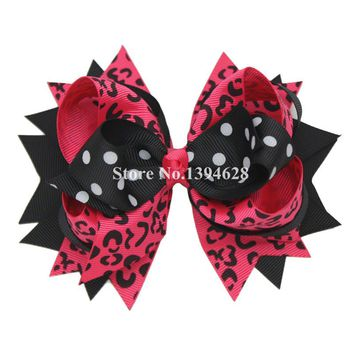 USD1.88 PC 5.5Inches Black Pink Leopard Print Hairpin Cute Headwear for Girls Stacked Boutique Bows With 6cm Hair Clip Hairpins
