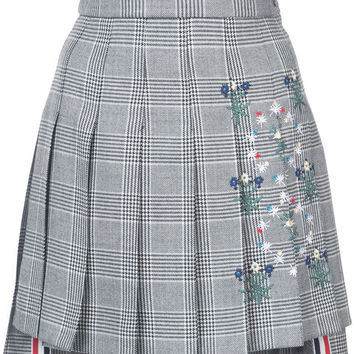 Thom Browne Dropped Back Mini Pleated Skirt With Floral Wallpaper Embroidery In Prince Of Wales Heavy Wool - Farfetch