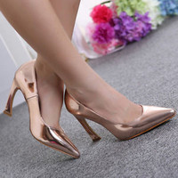 Hot Sell Womens Curved Heel Gold Glossy Pointed Toe Wedding Shoes