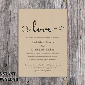 DIY Burlap Wedding Invitation Template Editable Word File Download Printable Rustic Wedding Invitation Heart Invitation Elegant Love Invite