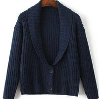 Navy Lapel Neck Single Breasted S'Weater Coat