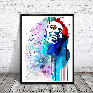 Bob Marley Watercolour Painting Print, watercolor painting, watercolor art, Illustration, Bob Marley poster, Celebrity Portraits