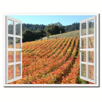 Wine Vineyards Sonoma California Picture French Window Framed Canvas Print Home Decor Wall Art Collection