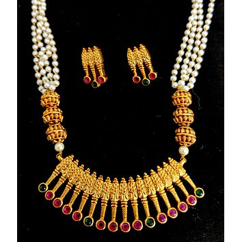 Gold Matte finish Spiked designer Pendant with multi stranded pearl chain Necklace and Earring set