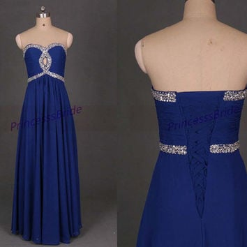 2014 long royal blue chiffon prom dresses with sequis,unique chic women gowns in hand made,cheap dress for party hot.