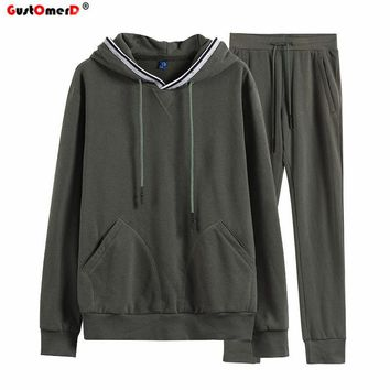 GustOmerD 2017 New Autumn Winter Warm Sporting Suits Men Top Quality Cotton Mens Sporting Suits Hoodied Sportswear Men Tracksuit