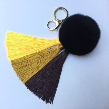 Yellow/Brown Gradient Tassel Handbag Charm Fur Pom Pom ball keychain