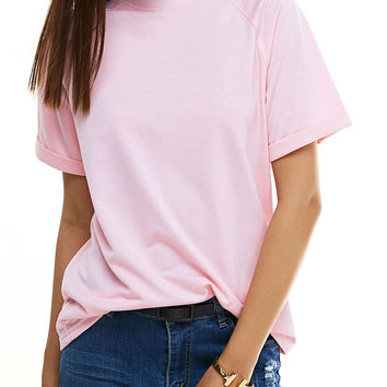 Chic Candy Color Short Sleeve T-Shirt